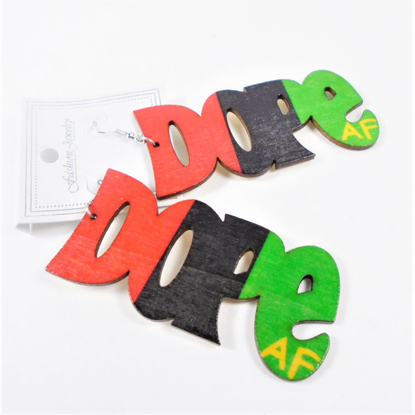 "3"" Africa Color Wood Earrings  DOPE af saying   .56 per pair"