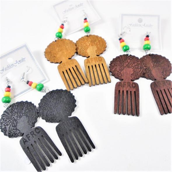 "3.5"" Afro Pick  Wood Earrings  w/ Rasta Color Beads   .54 per pair"
