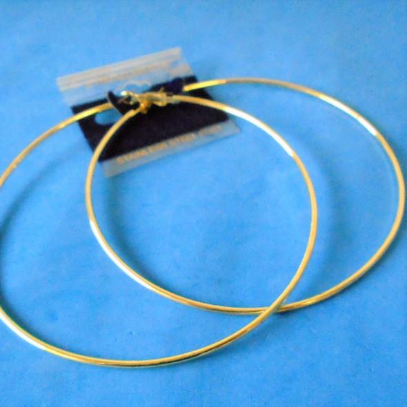 """4"""" Hypoallergenic Stainless Post Gold Hoop Earrings   .58 per pair"""