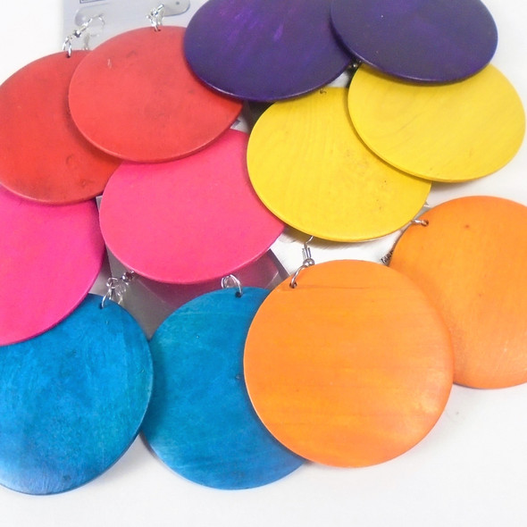 "Round Wood 2.25"" Fashion Earring Bright Colors  .54 each pair"