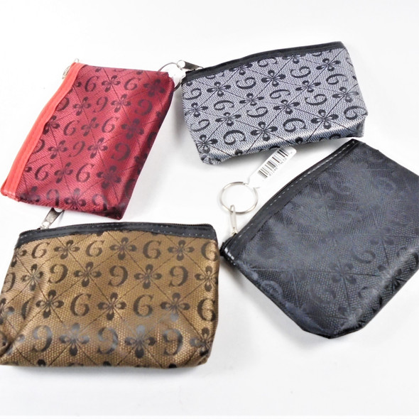 "3.5"" X 5"" Designer Inspired Look Zipper Coin Purse w/ Keychain .58 each"