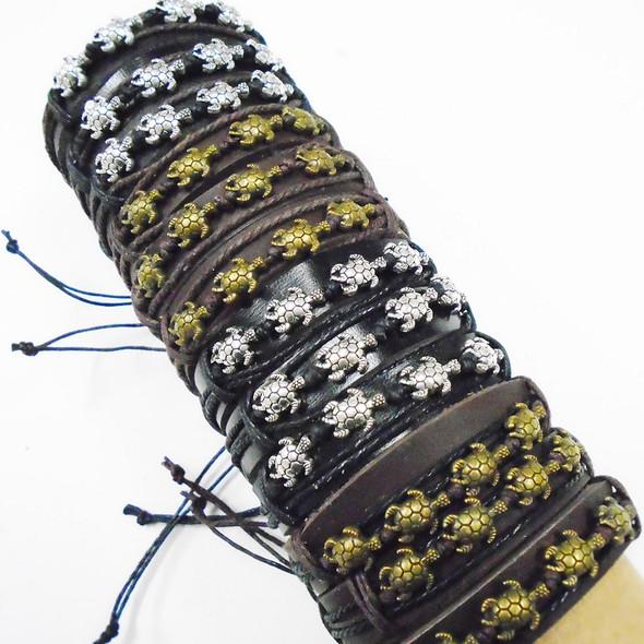 Teen Leather Bracelet w/ Gold/Silver Mini Turtles  .56 ea