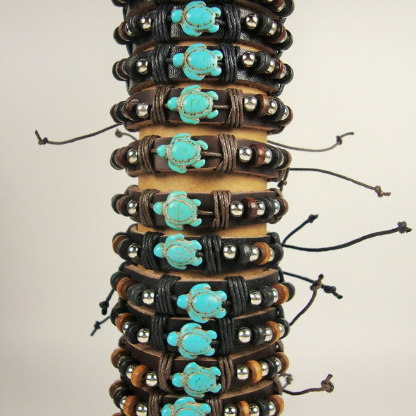 Teen Leather Bracelet w/ Wood,Silver Beads & Turquoise Stone Turtle .56 EA