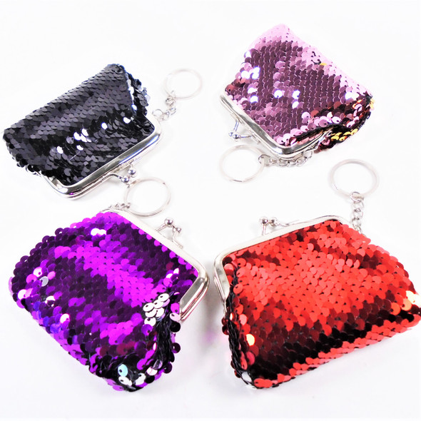 "3.5"" Change Color Sequin Coin Bag w/ Key Chain  12 per pk  .62 each"