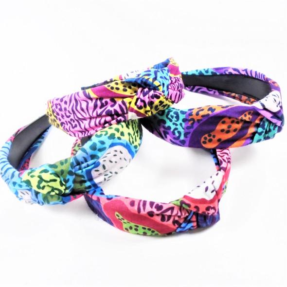 "1.5"" Wide Soft Fabric Leopard Print Fashion Headbands w\ Knot  .56 ea"