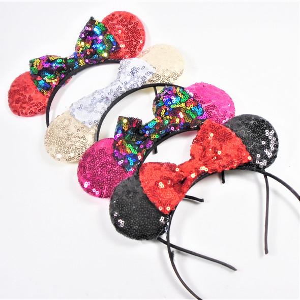 Sequin Mouse Ear Fashion Headbands w/ Bow  .56 each
