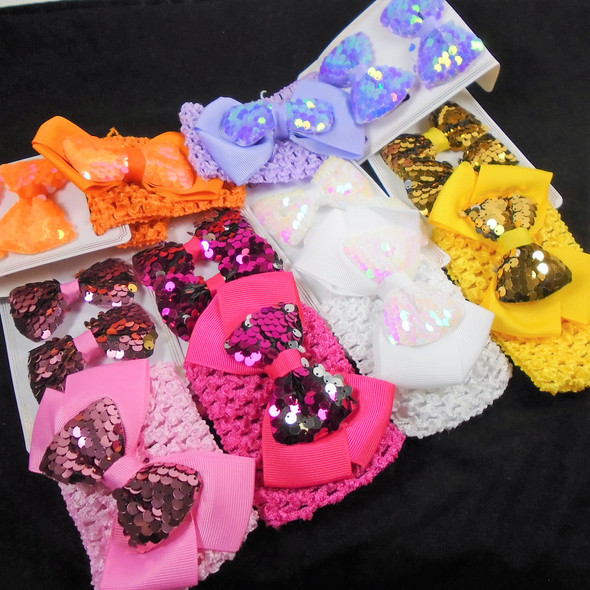 Sequin Gator Clip Bows & Crochet Headwrap w/ DBL Bow Sets  .52 per set