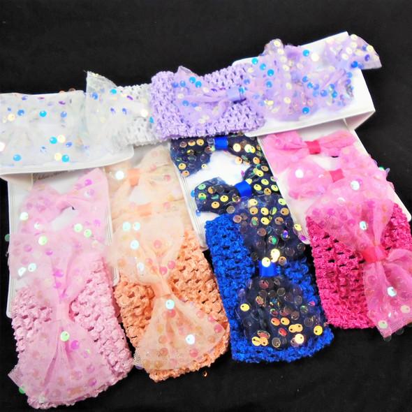 Sequin Gator Clip Bows & Crochet Headwrap w/ Lace Sequin Bow Sets  .52 per set