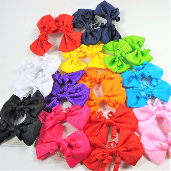 "4 Pk 3.5"" Gator Clip Bows  w/ Curly Ribbon Center  .52 per set"
