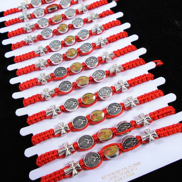 Red Macrame Bracelets w/ Mixed Faith Charms / Guadalupe  12 per cd .56 ea
