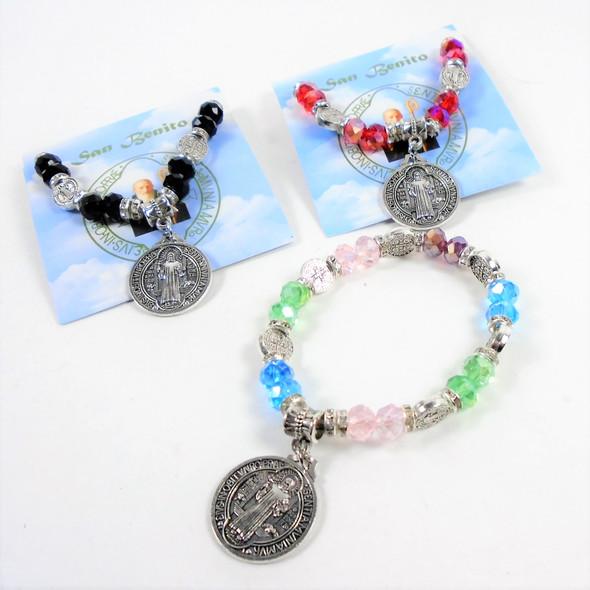 Crystal Beaded St. Benito Charm Bracelets w/ Story Card .58 ea