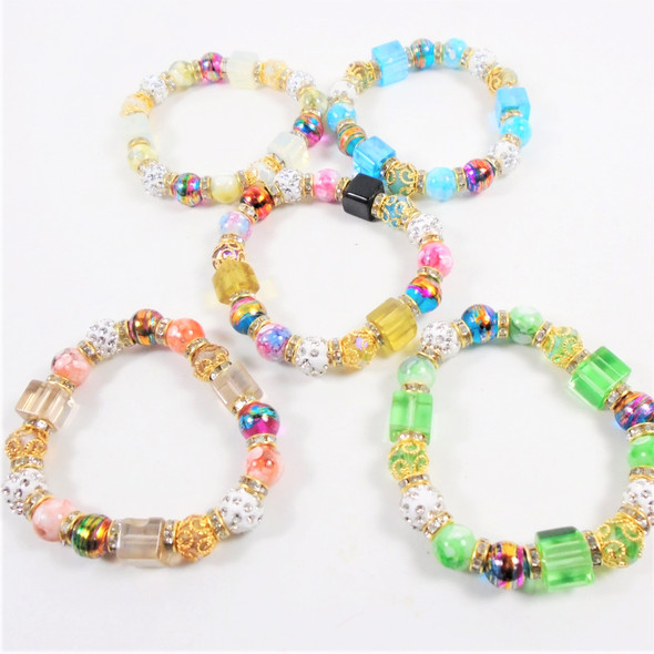 Multi Style Beaded Stretch Bracelet w/ Square Glass Beads  .58 each