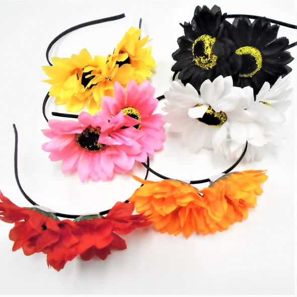 "Double 3.5"" Sunflower Fashion Headbands  Mixed Colors .54 each"