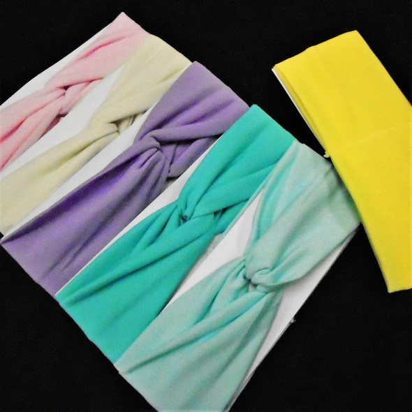 "3.25 "" Soft & Stretchy Headbands 8 -Mixed Pastel Colors per dz .58 each"