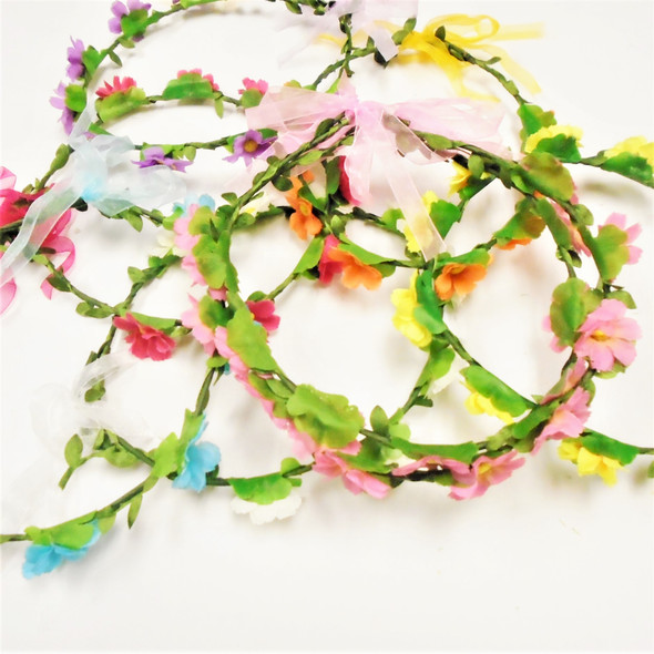Asst Color Flower Halo w/ Wire & Dangle Chiffon Ribbon   .56 each