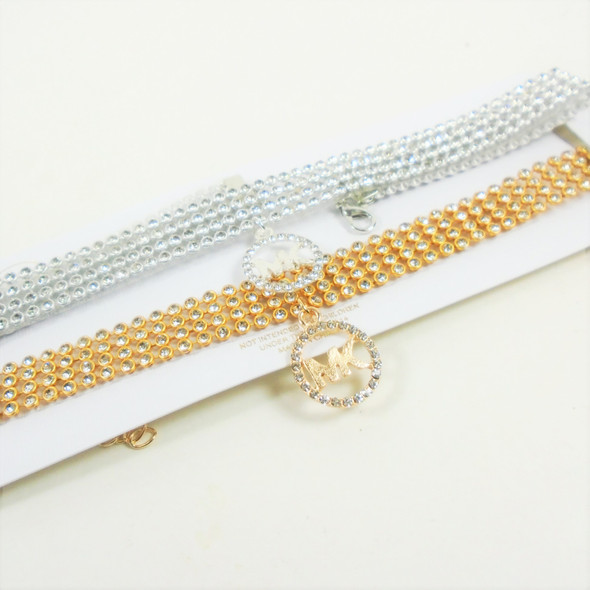 Crystal Stone Gold/Silver Choker Necklace w/ Fashion Pendant   .58 each