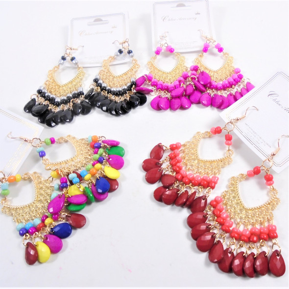 "2.5"" Hi Fashion Gold Earrings w/ Dangle Beads  .58 per pair"