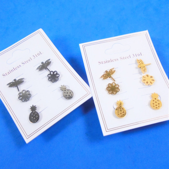 3 -Pair Gold & Silver Stainless Steel Earrings Pineapple,Flower,Dragonfly  .58 per set