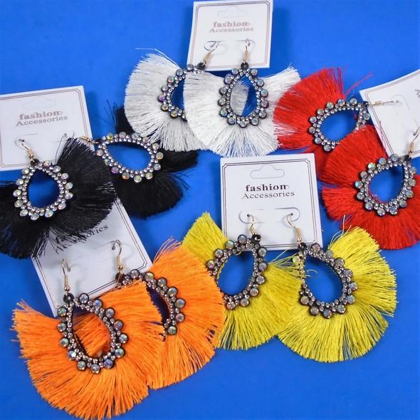"Popular 3"" Fringe Style Fashion Earring w/ Crystal Stones .58 per pair"
