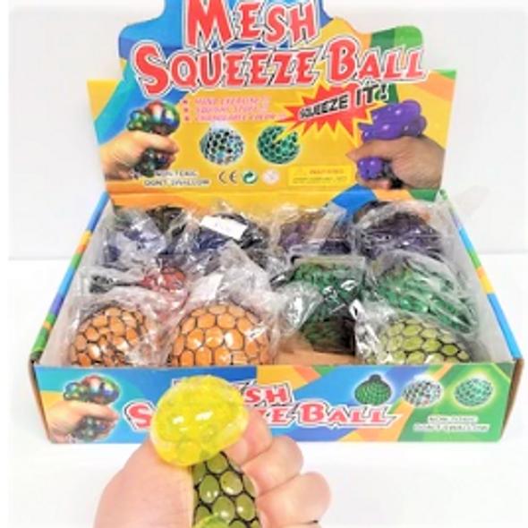 """2.5"""" Asst Color Bead Gel Squish/Stress  Balls 12 per display box .62 ea"""