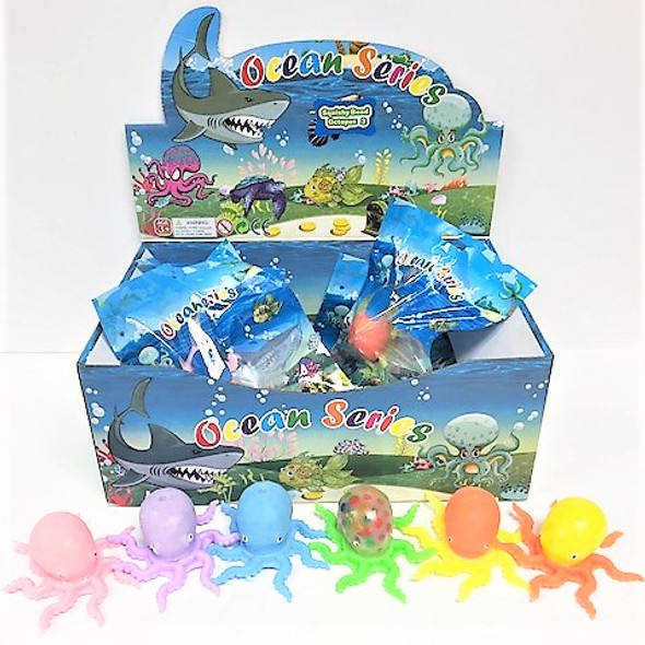 """4"""" Super Bead Squish/Stress  Balls Octopus Theme  12 per display box .83 ea"""