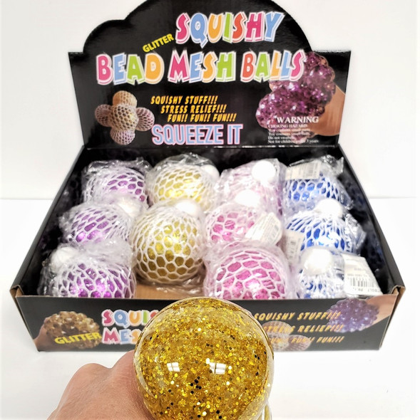 "2.5""  Bead Gel Squish/Stress  Balls Metallic Theme 12 per display box .79 ea"