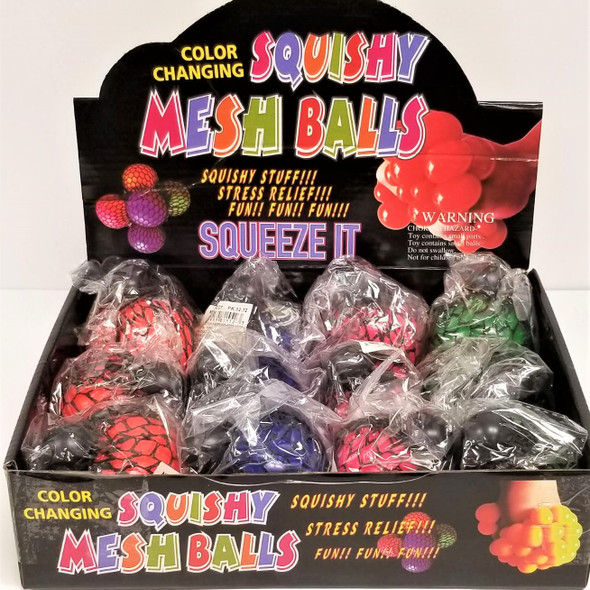 "3"" Gel Mesh Squish/Stress  Balls Change Color Theme 12 per display box .75 ea"