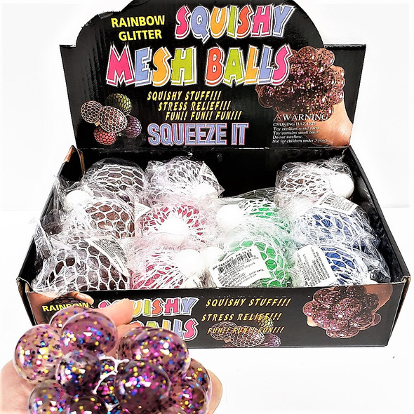 "3""  Gel Squish/Stress Balls Rainbow Glitter Theme 12 per display box .79 ea"