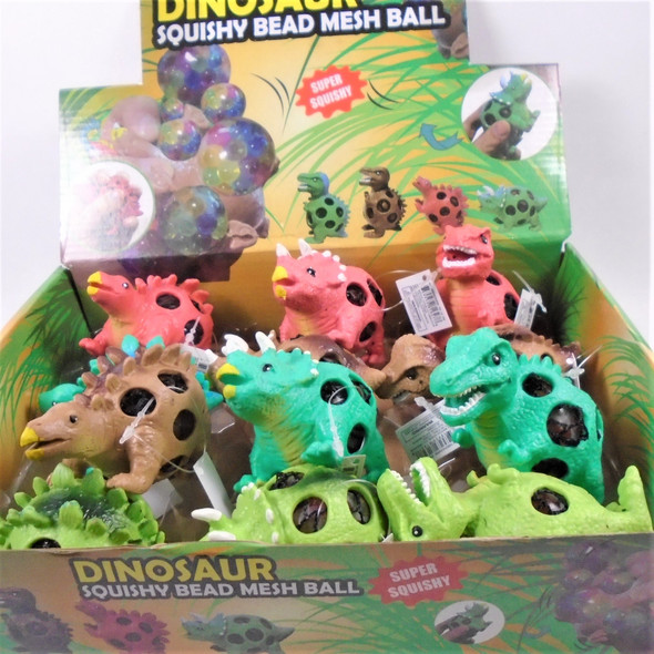 "3.5""  Rainbow Bead Squish/Stress  Balls Dinosaur Theme  12 per display box .75 ea"