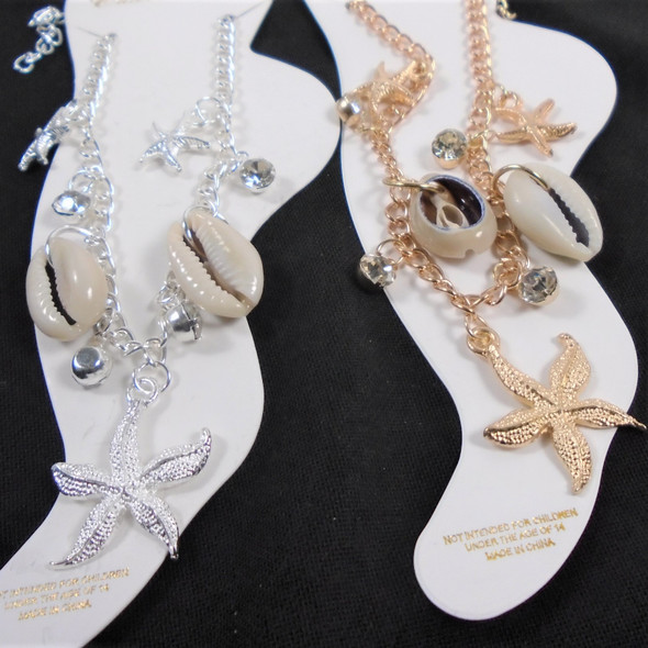 Gold & Silver Anklets w/ Starfish & Cowrie Shell  12 per pk .56 ea
