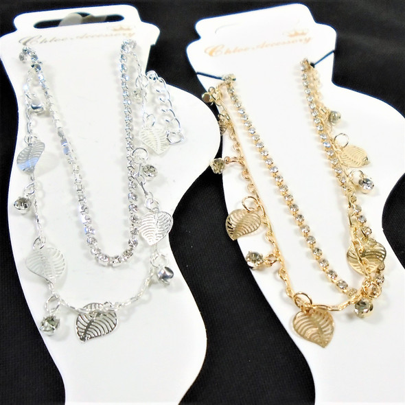 Gold & Silver 2 Strand  Anklets w/ Dangle Leaves & Cry. Stones  12 per pk .56 ea