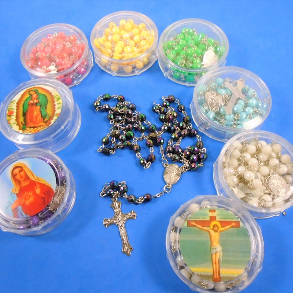 """36"""" Mix Color - Dia Cut Bead Rosary w/ Silver Cross w/ JESUS in Keepstake Box  .58 ea"""