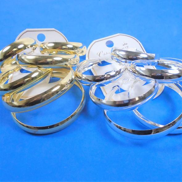 """3 Pack 1.5""""-2.5"""" Gold & Silver Hoop Earrings  .56 per set"""