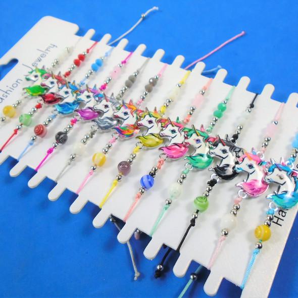 Beaded Cord Bracelet w/ Colorful Unicorn Charm  12 per cd .54 ea