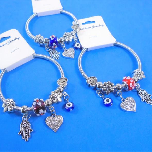 Silver Spring Style Bracelets  w/ Eye,Hamsa & Stone Heart Charms   .58 ea