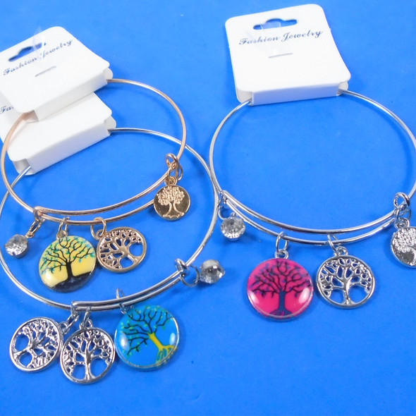 Gold & Silver Wire Bangle Bracelet Tree of Life Theme  .58  each