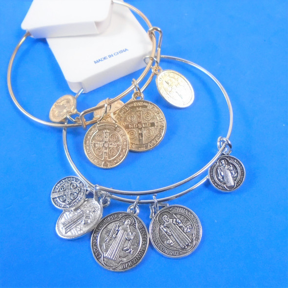 Gold & Silver Wire Bangle Bracelet w/ Dbl Sided St. Benito Charms  .58  each