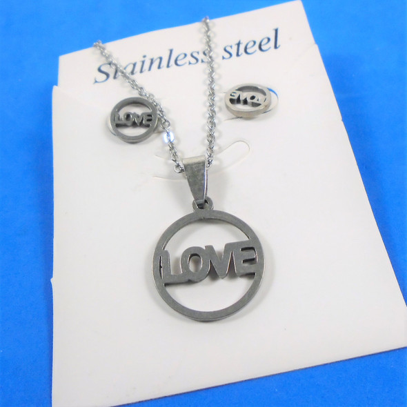"""REDUCED PRICE 18"""" Silver Stainless Steel LOVE Pendant Necklace .50 each"""