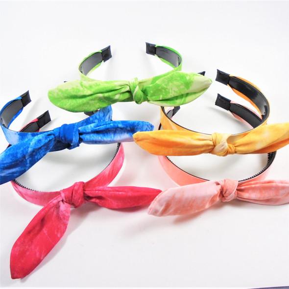 """Trending Tye Dye Mix Fashion Headbands w/ 6"""" Bow on Top w/ Wire .60 ea"""