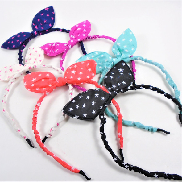 Trending Thin Ruffled Fashion Headbands Bunny Ears Star Print  .54 each