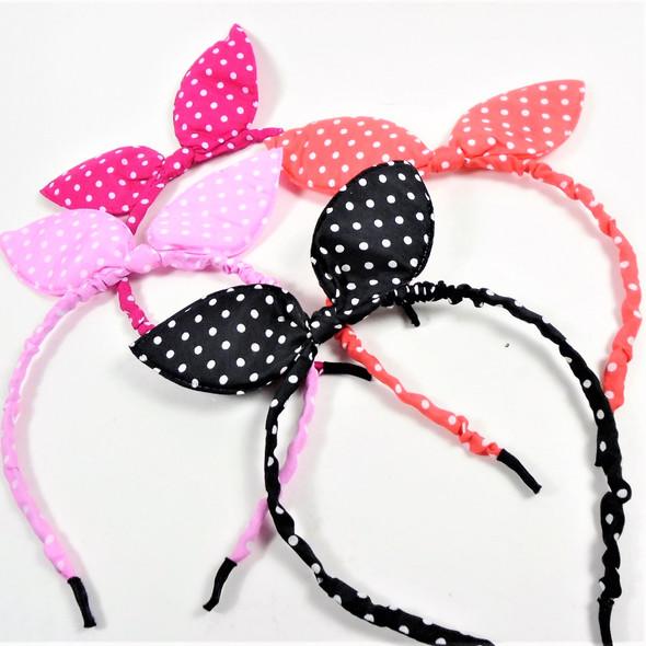 Trending Thin Ruffled Fashion Headbands Bunny Ears Poka Dot Print  .54 each