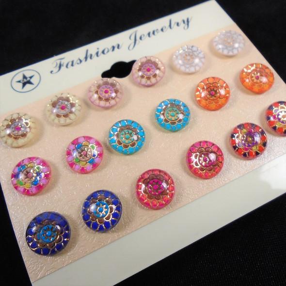 9 Pair Acrylic Stud Earrings New Age Pattern Look  .56 per set