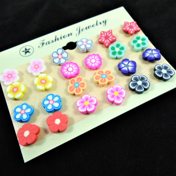 Value Pack 12 Pair Earrings Colorful Fimo Mixed Shapes   .58 per set