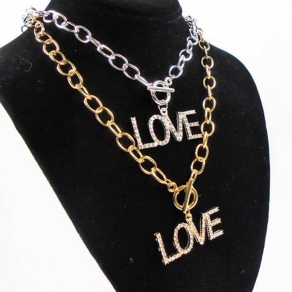 """18"""" Gold & Silver Link Chain Necklace w/ 2"""" Love Crystal Stone Pendant  .60 ea"""