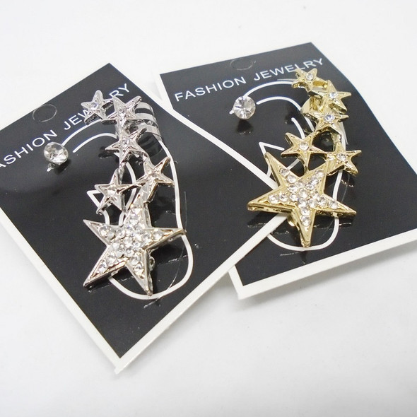 Star Theme  Gold & Silver Crystal Stone Ear Cuffs .50 each
