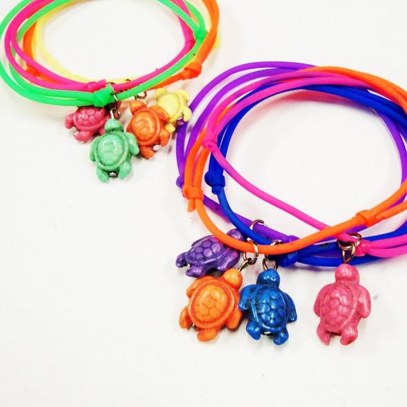 4 Pk DBL Line Gummy Bracelets w/ Stone Turtles .50 per set