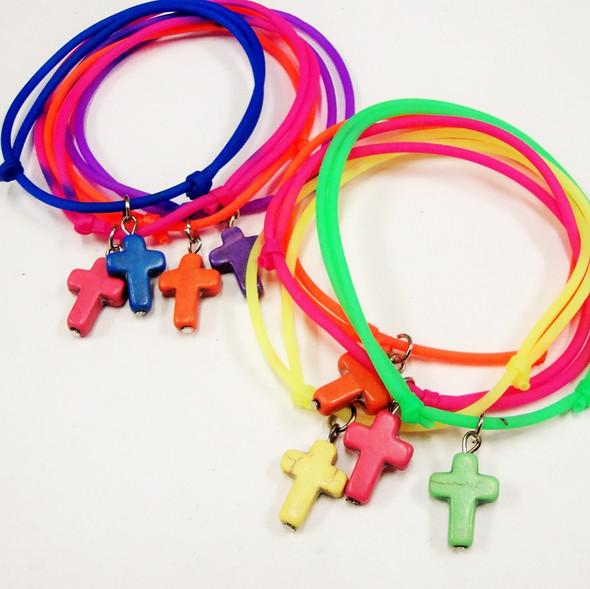 4 Pk DBL Line Gummy Bracelets w/ Stone Crosses .50 per set