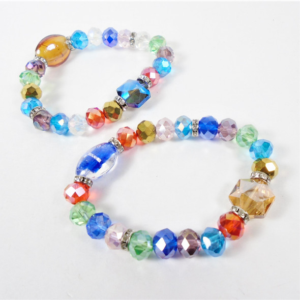 BEST - BUY  Glass & Crystal Stone Stretch Bracelets (26) .58 ea
