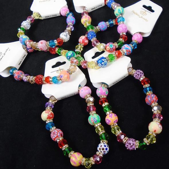 Colorful Fimo,Crystal & Fireball Bead Stretch Bracelet  .58 ea