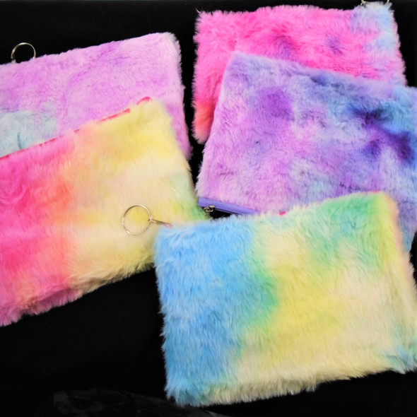 "5"" X 7"" Faux Fur Zipper  Bag  Tye Dye Colors  .60 ea"